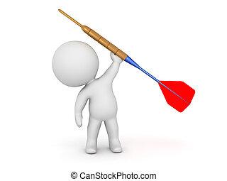 3D Character Holding Large Dart Arrow