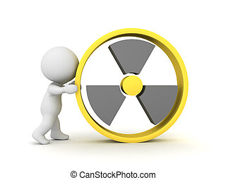 3D Character holding nuclear power sign