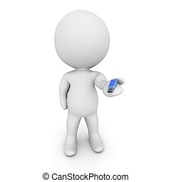 3D Character Holding Small USB Stic