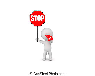 3D Character holding stop sign and blowing whistle