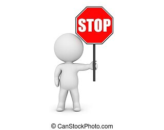 3D Character Holding Stop Sign - A 3D character holding a...