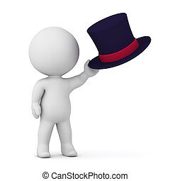 3D Character Holding Top Hat