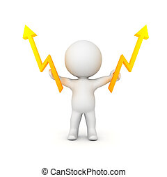 3D Character holding two lightning bolts in his hands