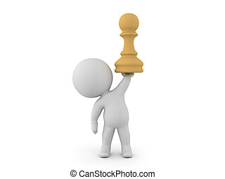 3D Character holding up a chess pawn piece