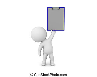 3D Character holding up a clipboard