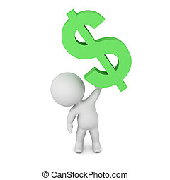 3D Character Holding Up a Dollar Symbol