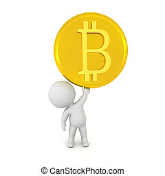 3D Character holding up a golden bitcoin