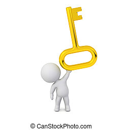 3D Character Holding Up a Large Golden Key