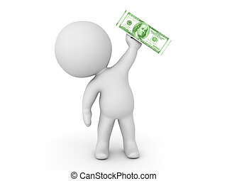 3D Character holding up a one hundred dollar bill