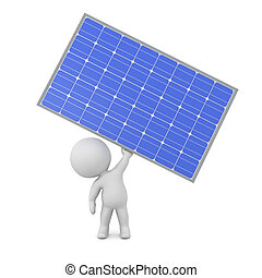 3D Character Holding Up a Solar Panel
