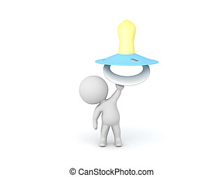 3D Character holding up a teal pacifier. Isolated on white.