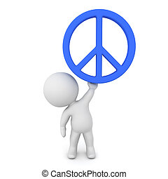 3D Character holding up peace sign