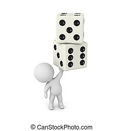 3D Character Holding Up Two Dice