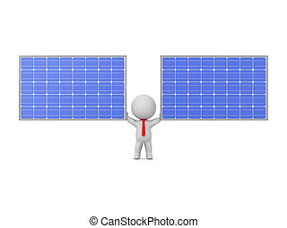 3D Character Holding Up Two Solar Panels