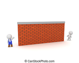 3D Character in Overalls and Large Brick Wall