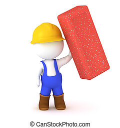 3D Character in Overalls Holding a Large Brick