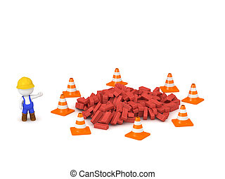 3D Character in Overalls with Bricks and Orange Cones