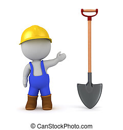 3D Character in Overalls with Shovel