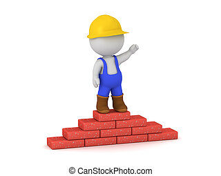 3D Character in Worker Overalls with Bricks