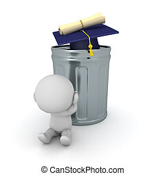 3D Character is stressed because his diploma is worthless. ...