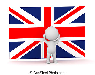 3D Character Is Stressed in Front of British Flag Union Jack