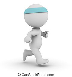 3D Character Jogging - A 3D character wearing head band and...