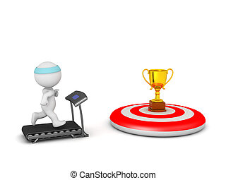 3D Character Jogging on Treadmill with Goal on Target