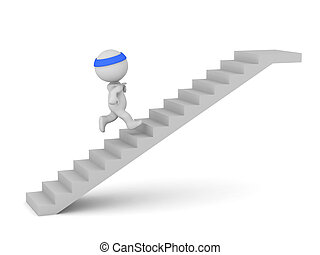 3D Character Jogging Up a Set of Stairs