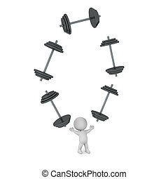 3D Character Juggling Large Dumbbell Weights