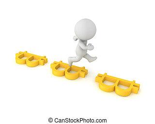 3D Character jumping between horizontal bitcoin symbols