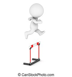 3D Character Jumps Over Obstacle - 3D character jumps over...