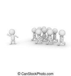 3D Character leading a group of people