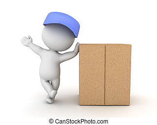 3D Character leaning on cardboard box package