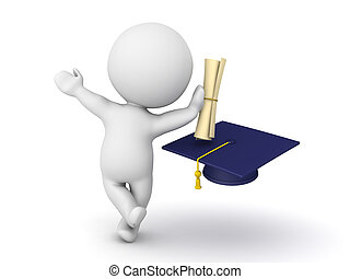 3D Character leaning on diploma with graduation hat