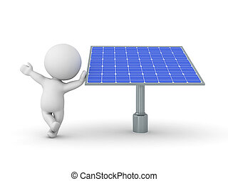 3D Character leaning on solar power panel