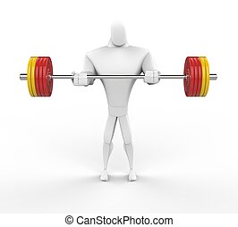 3D Character lifting heavy weights.