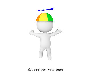 3D Character lifting up by way of propeller hat. Isolated on...