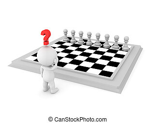 3D Character looking at chess board, trying to figure out a move