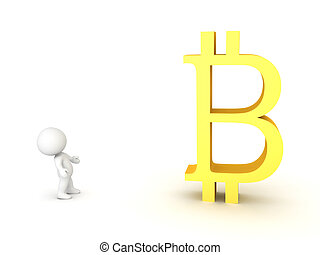 3D Character looking at giant bitcoin symbol