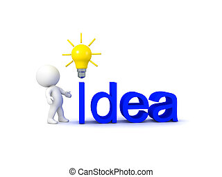 """3D Character looking at """"Idea"""" text with bright light bulb"""