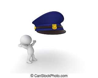 3D Character looking excited at policeman hat. Isolated on...