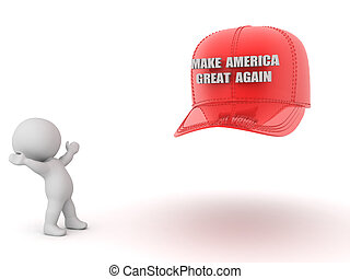 3D Character looking excited at red make America great again...