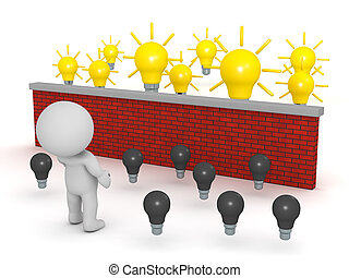 3D Character Looking Over Brick Wall to Light Bulb Ideas