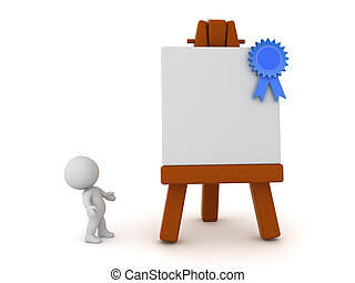 3D Character Looking Up at an Art Easel with Blue Ribbon