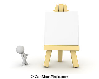 3D Character Looking Up at Art Easel