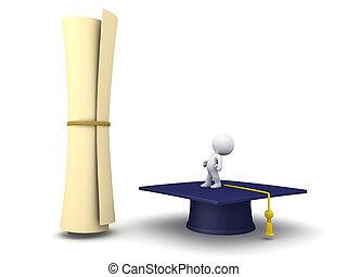 3D Character Looking Up at Large Diploma