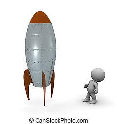 3D Character Looking Up at Rocket