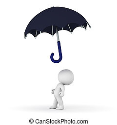 3D Character Looking Up at Umbrella