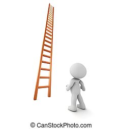 3D Character Looking Up Ladder - A 3D character looking up...
