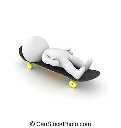 3D Character lying down on a skateboard